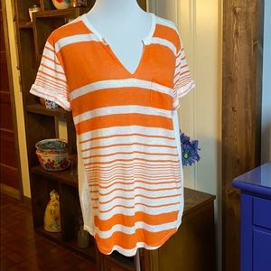 ana short sleeve orange striped pocket tee